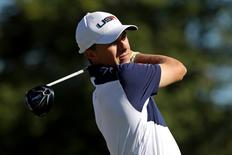 Oct 2, 2016; Chaska, MN, USA;  Jordan Spieth of the United States plays his shot from the third tee during the single matches in 41st Ryder Cup at Hazeltine National Golf Club. Mandatory Credit: Rob Schumacher-USA TODAY Sports  / Reuters Picture Supplied by Action Images