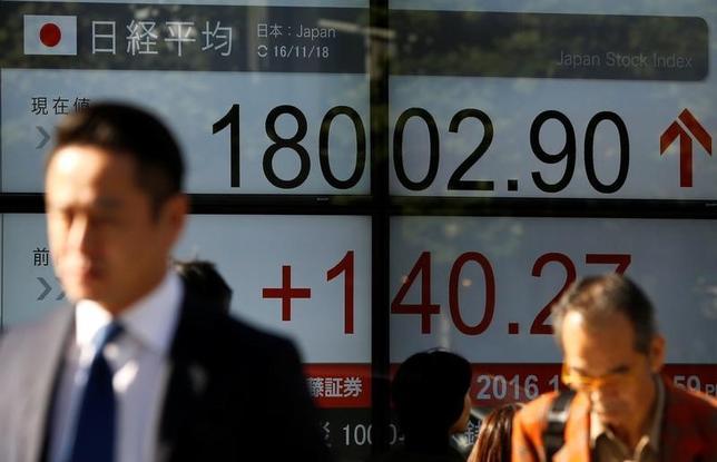 11月18日、東京株式市場で日経平均は3日続伸し、取引時間中としては1月7日以来、10カ月ぶりに1万8000円台を回復した。写真は株価ボード。都内で撮影(2016年 ロイター/Toru Hanai)