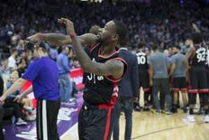 Nov 20, 2016; Sacramento, CA, USA; Toronto Raptors forward Terrence Ross (31) throwing his mouthguard into the stands after his game tying shot is ruled to be after time had expired against the Sacramento Kings at Golden 1 Center the Sacramento Kings defeated the Toronto Raptors 102 to 99. Mandatory Credit: Neville E. Guard-USA TODAY Sports