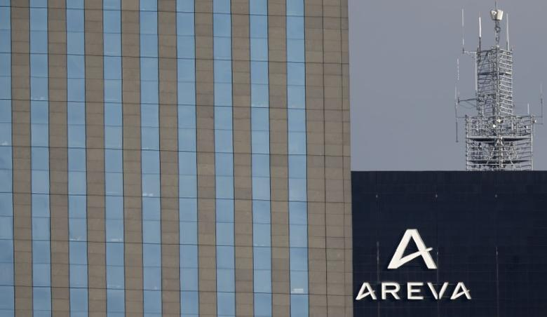 A logo is seen on the Areva Tower (R), the headquarters of the French nuclear reactor maker Areva, at La Defense business and financial district in Courbevoie near Paris, France, March 8, 2016. REUTERS/Christian Hartmann