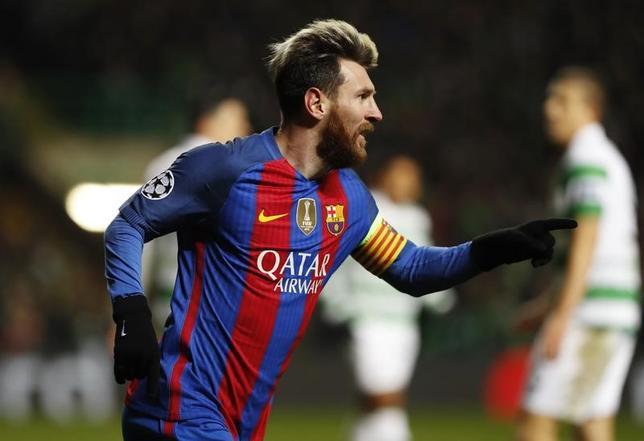 11月23日、サッカーの欧州チャンピオンズリーグ、1次リーグC組のバルセロナはセルティックを2─0で下した。リオネル・メッシが2得点(2016年 ロイター)