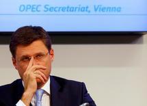 Министр энергетики России Александр Новак на пресс-конференции в Вене 24 октября 2016 года. Глобальное соглашение о сокращении добычи нефти возможно лишь если к нему присоединятся производители вне ОПЕК, такие как Россия, сказал в четверг глава французского нефтегазового концерна Total Патрик Пуянне.  REUTERS/Leonhard Foeger