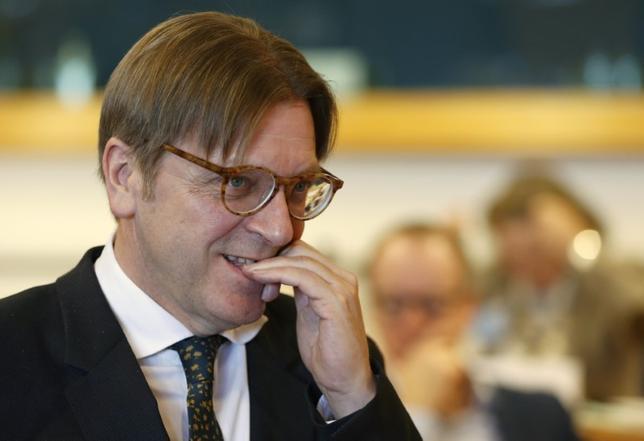 11月26日、英タイムズ紙は欧州議会で英国の欧州連合(EU)離脱交渉を担当するフェルホフスタット議員(写真)が、EUにとどまりたい英国民に個人加盟を認めることに前向きな姿勢を示したと伝えた。2月撮影(2016年 ロイター/Francois Lenoir)