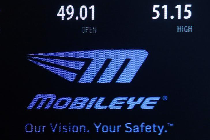 A logo and stock information for auto supplier Mobileye NV is displayed on a screen where the stock is traded on the floor of the New York Stock Exchange (NYSE) in New York City, U.S., August 23, 2016.  REUTERS/Brendan McDermid