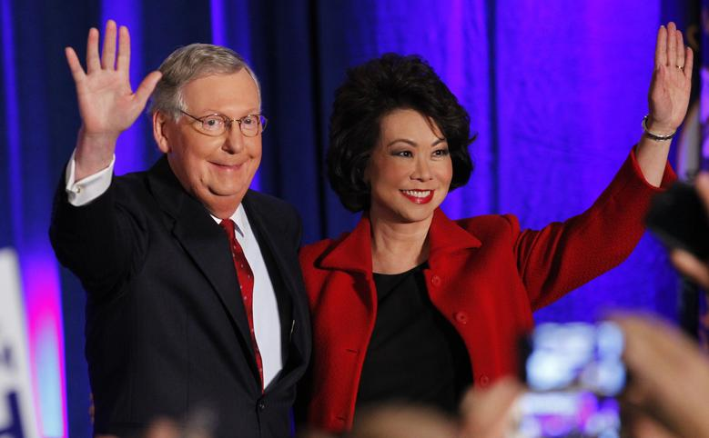 U.S. Senate Minority Leader Mitch McConnell (R-KY) waves to supporters with his wife, former United States Secretary of Labor Elaine Chao, at his midterm election night rally in Louisville, Kentucky, November 4, 2014. REUTERS/John Sommers II