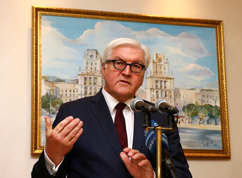 Germany's Foreign Minister Frank-Walter Steinmeier speaks during a news briefing after the talks on the crisis in eastern Ukraine in Minsk, Belarus, November 29, 2016. REUTERS/Vasily Fedosenko