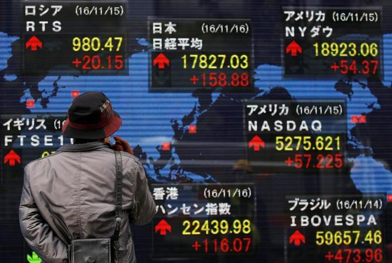 A man looks at an electronic board showing the stock market indices of various countries outside a brokerage in Tokyo, Japan, November 16, 2016.   REUTERS/Toru Hanai