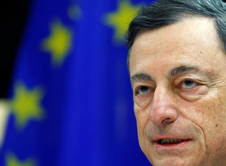 European Central Bank (ECB) President Mario Draghi addresses the European Parliament's Economic and Monetary Affairs Committee in Brussels, Belgium November 28, 2016.   REUTERS/Yves Herman