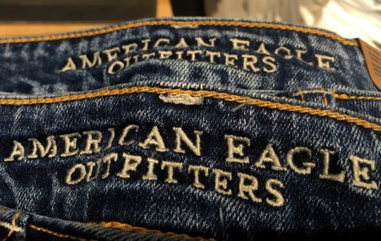 Jeans are seen for sale in an American Eagle Outfitters retail store in Manhattan, New York, U.S., May 13, 2016. REUTERS/Mike Segar