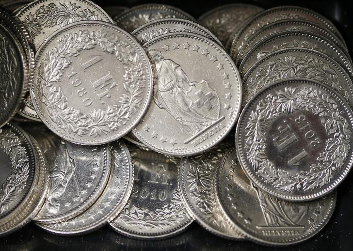 One Swiss franc coins are seen in a cash drawer in Bern January 16, 2015. German bond yields hit record lows on Friday while fears about Greek banks sent the country's borrowing costs spiralling - signs of the fallout from the Swiss National Bank's shock decision to scrap its currency cap. A surge in the Swiss franc after the SNB abandoned its 1.20 euro limit on Thursday saw investors flee equities and other risky assets, parking money instead in top-rated bonds. REUTERS/Thomas Hodel (SWITZERLAND - Tags: BUSINESS POLITICS)