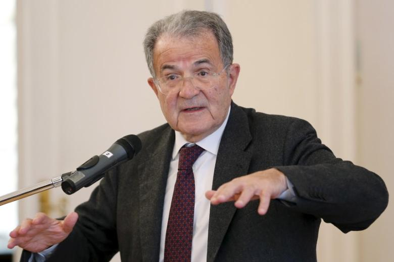 Former Italian Prime Minister Romano Prodi delivers a lecture at the Russian Foreign Ministry's Reception House in Moscow, Russia, March 17, 2016. REUTERS/Maxim Zmeyev