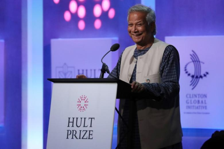 Nobel Peace Prize winner Muhammad Yunus addresses the Hult Prize Award Dinner during the Clinton Global Initiative in Manhattan, New York, U.S., September 20, 2016. REUTERS/Andrew Kelly