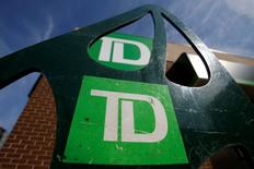 Toronto-Dominion Bank (TD) logos are seen outside of a branch in Ottawa, Ontario, Canada, May 26, 2016. REUTERS/Chris Wattie
