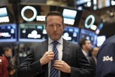 Allergan CEO Brent Saunders prepares to give an interview on the floor of the New York Stock Exchange (NYSE) April 6, 2016. REUTERS/Brendan McDermid