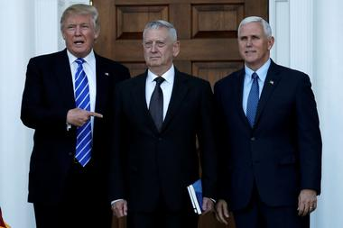 Trump and Pence greet Mattis in Bedminster