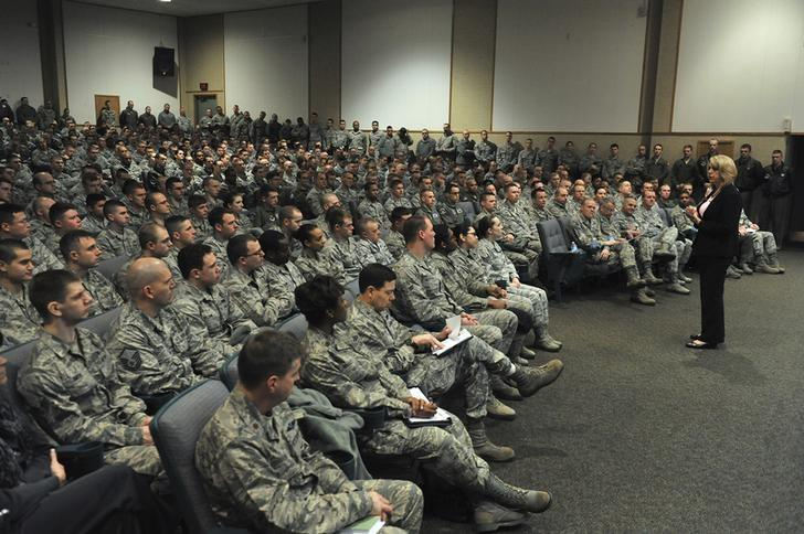 FILE PHOTO - Secretary of the Air Force Deborah Lee James talks to members of the 341st Missile Wing during a visit to Malmstrom Air Force Base in Montana January 22, 2014. REUTERS/John Turner/U.S. Air Force/Handout via Reuters