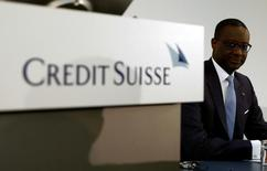 CEO Tidjane Thiam (R) of Swiss bank Credit Suisse awaits a news conference to present the bank's halfyear results in Zurich, Switzerland July 28, 2016.   REUTERS/Arnd Wiegmann