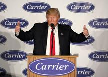 U.S. President-Elect Donald Trump speaks at an event at Carrier HVAC plant in Indianapolis, Indiana, U.S., December 1, 2016. REUTERS/Chris Bergin - RTSU9JK