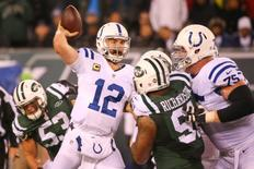 Dec 5, 2016; East Rutherford, NJ, USA; Indianapolis Colts quarterback Andrew Luck (12) throws a pass against the New York Jets during the second half at MetLife Stadium. Mandatory Credit: Ed Mulholland-USA TODAY Sports