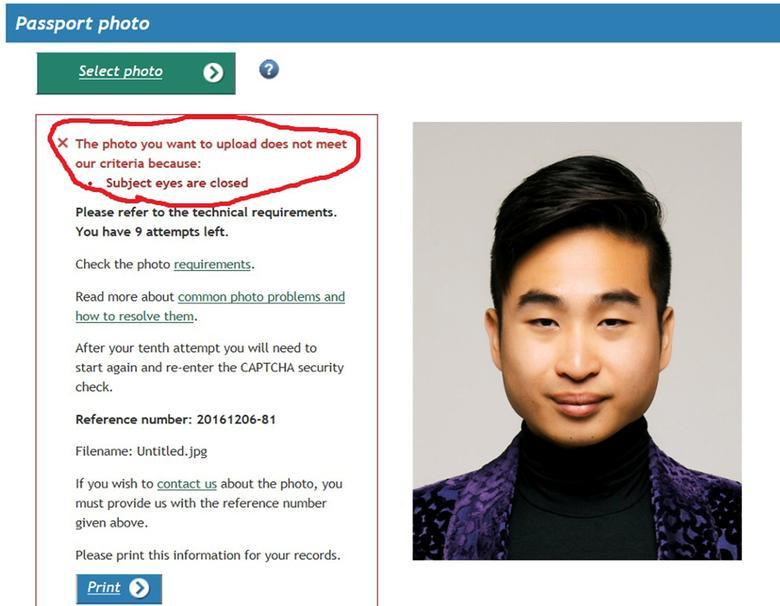 A screenshot of New Zealand man Richard Lee's passport photo rejection notice, supplied to Reuters December 7, 2016.   Richard Lee/Handout via REUTERS