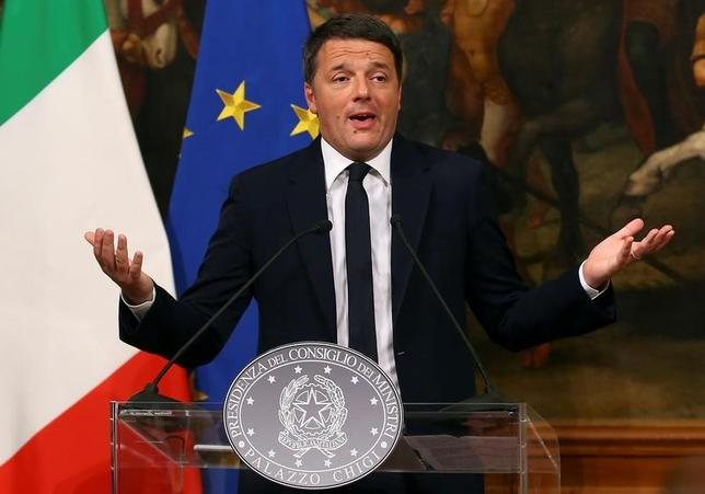 Italian Prime Minister Matteo Renzi speaks during a media conference after a referendum on constitutional reform at Chigi palace in Rome, Italy. REUTERS/Alessandro Bianchi