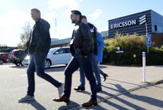 Ericsson workers walk outside the Ericsson factory in Boras , Sweden, October 4 , 2016. TT NEWS AGENCY/Bjorn Larsson Rosvall via REUTERSA/File Picture