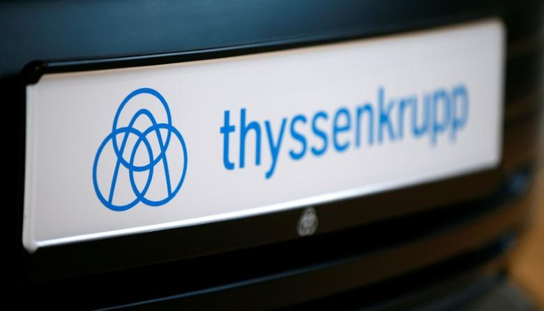 The logo of German steel-to-elevators group ThyssenKrupp AG is pictured during the company's annual news conference in Essen, Germany, November 24, 2016. REUTERS/Wolfgang Rattay