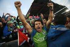 Nov 27, 2016; Commerce City, CO, USA; Seattle Sounders midfielder Nicolas Lodeiro (10) celebrates after the game against the Colorado Rapids in the second leg of the MLS Western Conference Championship at Dick's Sporting Goods Park. The Sounders won 1-0. Mandatory Credit: Chris Humphreys-USA TODAY Sports