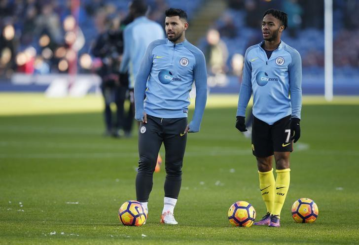 Manchester City's Sergio Aguero and Raheem Sterling before the match Reuters / Andrew Yates. Burnley v Manchester City - Premier League - Turf Moor