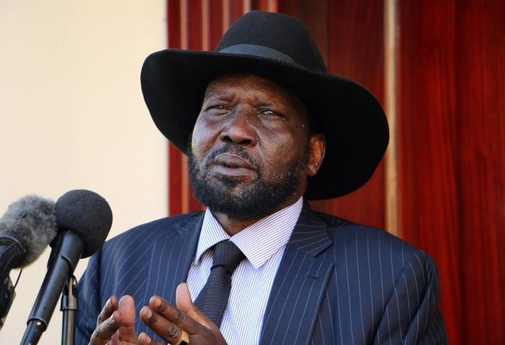 South Sudan President Salva Kiir addresses members of the media after taking a tour around the capital Juba, South Sudan, October 12, 2016. REUTERS/Jok Solomon/Files