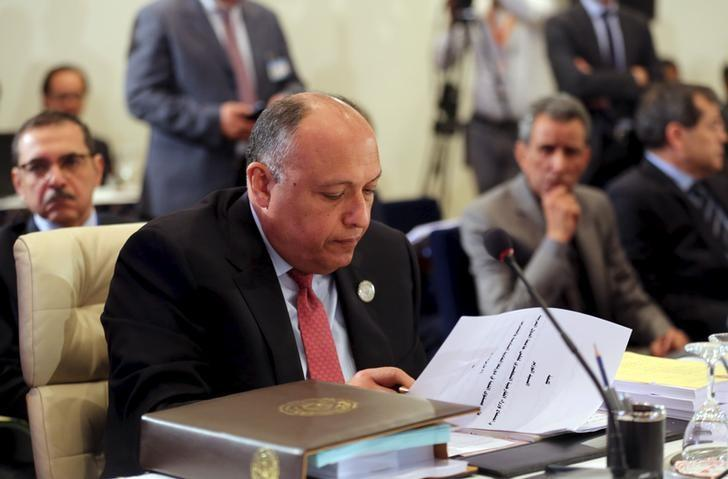 Egyptian Foreign Minister Sameh Shukri looks over a document during a meeting of Arab foreign ministers in Sharm el Sheik, South Sinai March 26, 2015. REUTERS/Thomas Hartwell/Pool/Files