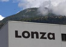 A logo is pictured on the laboratory building on the Lonza site in Visp, western Switzerland September 10, 2013. REUTERS/Denis Balibouse