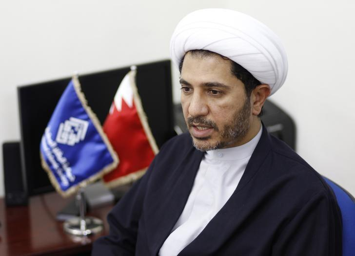 Sheikh Ali Salman speaks to Reuters at the party's headquarters in Bilad Al Qadeem, west of Manama, October 28, 2014. REUTERS/Hamad I Mohammed/Files