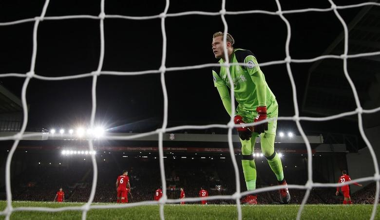 Liverpool's Loris Karius looks dejected after conceding their second goal. Liverpool v West Ham United - Premier League - Anfield - 11/12/16. Action Images via Reuters / Lee Smith Livepic