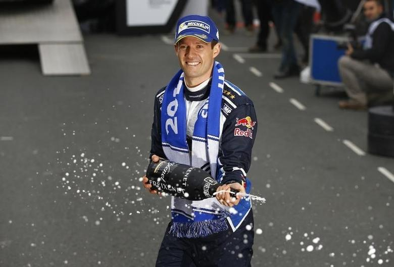 Britain Rallying - Wales Rally GB - FIA World Rally Championship - Wales - 30/10/16Volkswagen Motorsport's Sebastien Ogier celebrates victoryMandatory Credit: Action Images / Peter CziborraLivepic