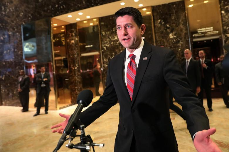 U.S. House of Representatives Speaker Paul Ryan (R-WI) speaks to the media after meeting with President-elect Donald Trump at Trump Tower in New York, U.S. December 9, 2016. REUTERS/Mark Kauzlarich