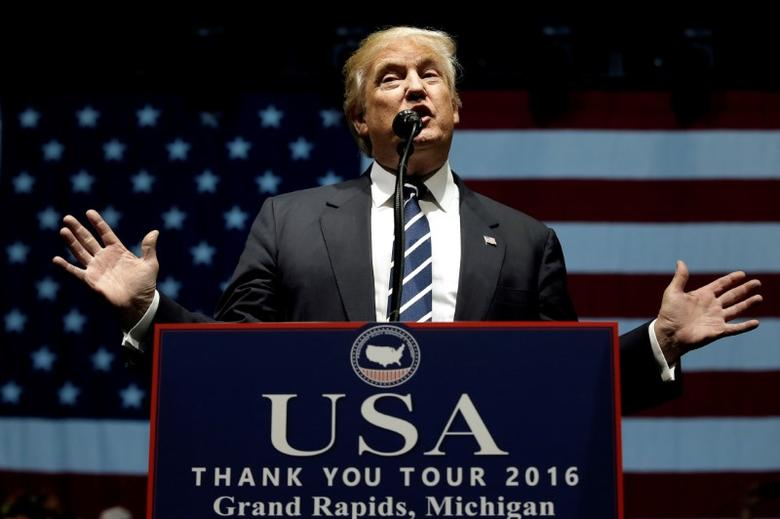 U.S. President-elect Donald Trump speaks at a ''Thank You USA'' tour rally in Grand Rapids, Michigan, U.S. December 9, 2016.  REUTERS/Mike Segar/File photo