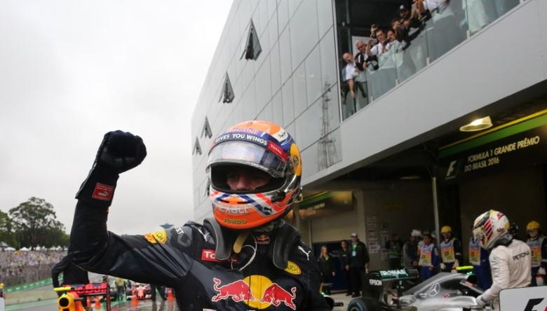 Formula One - F1 - Brazilian Grand Prix - Circuit of Interlagos, Sao Paulo, Brazil - 13/11/2016 - Red Bull's Max Verstappen of the Netherlands celebrates after finishing third in the race.  REUTERS/Nacho Doce