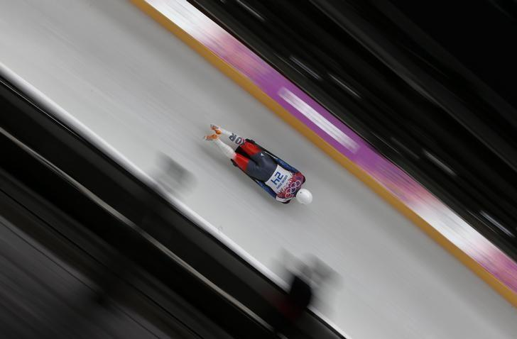 South Korea's Lee Hansin competes in the men's skeleton event at the 2014 Sochi Winter Olympics, at the Sanki Sliding Center in Rosa Khutor February 15, 2014.                 REUTERS/Fabrizio Bensch