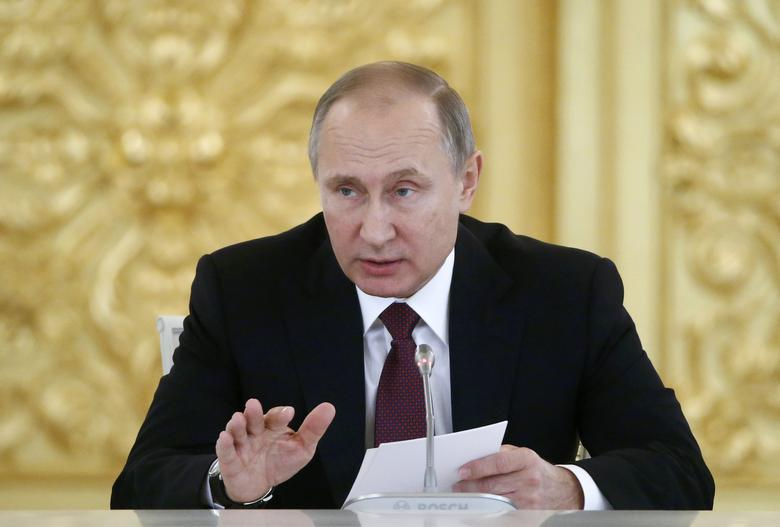 Russia's President Vladimir Putin delivers a speech during a session of the Council for Civil Society and Human Rights at the Kremlin in Moscow, Russia, December 8, 2016. REUTERS/Sergei Karpukhin