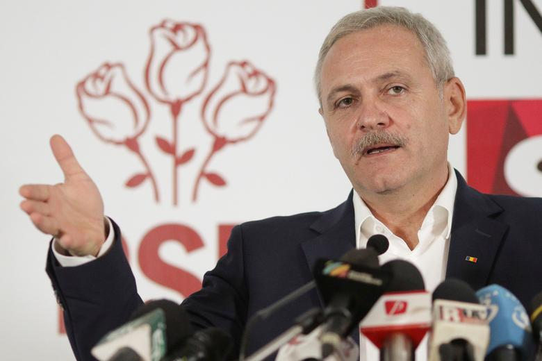 Leader of Romania's leftist Social Democrat Party (PSD), Liviu Dragnea, gestures during a press conference following the end of the parliamentary elections, in Bucharest, Romania, December 11, 2016. Inquam Photos/Octav Ganea/via REUTERS