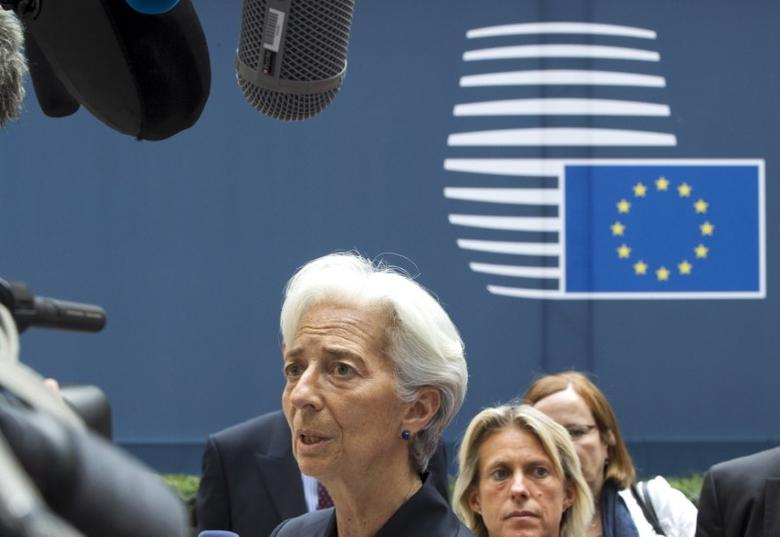 International Monetary Fund (IMF) Managing Director Christine Lagarde arrives at a Eurozone finance ministers emergency meeting on the situation in Greece in Brussels, Belgium June 27, 2015.  REUTERS/Yves Herman