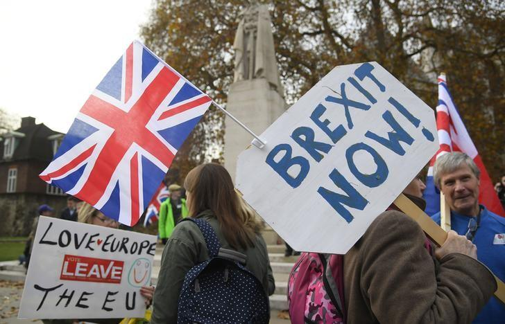 Demonstrators supporting Brexit protest outside of the Houses of Parliament in London, Britain, November 23, 2016. REUTERS/Toby Melville/File Photo