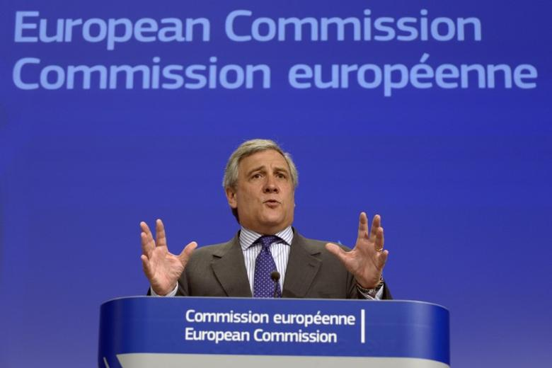 Antonio Tajani gestures during a news conference on the European defence industry in Brussels July 24, 2013. REUTERS/Eric Vidal