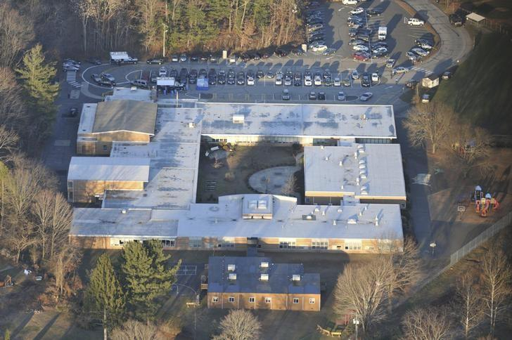 An aerial view of Sandy Hook elementary School in Newtown, Connecticut, is pictured in this evidence photo released by the Connecticut State Police, December 27, 2013.   REUTERS/Connecticut State Police/Handout via Reuters