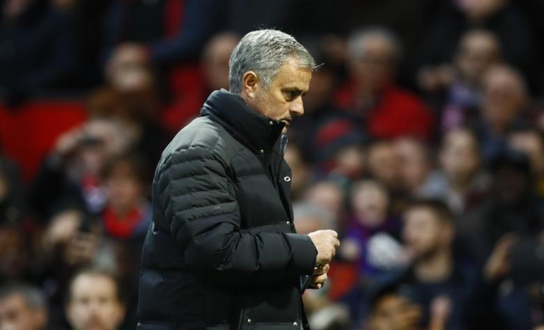 Football Soccer Britain - Manchester United v Tottenham Hotspur - Premier League - Old Trafford - 11/12/16 Manchester United manager Jose Mourinho walks off at half time  Action Images via Reuters / Jason Cairnduff Livepic