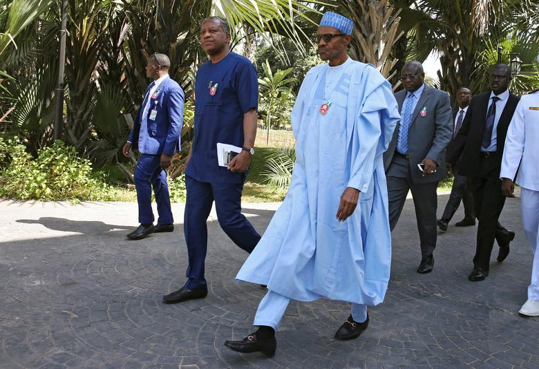 Nigeria's President Muhammadu Buhari is seen on arrival for the international mediation on Gambia election conflict in Banjul, Gambia December 13, 2016 REUTERS/Afolabi Sotunde