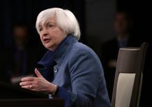 A chair do Fed dos Estados Unidos, Janet Yellen, dá coletiva de imprensa após reunião do FOMC em Washington, nos Estados Unidos 14/12/2016 REUTERS/Gary Cameron
