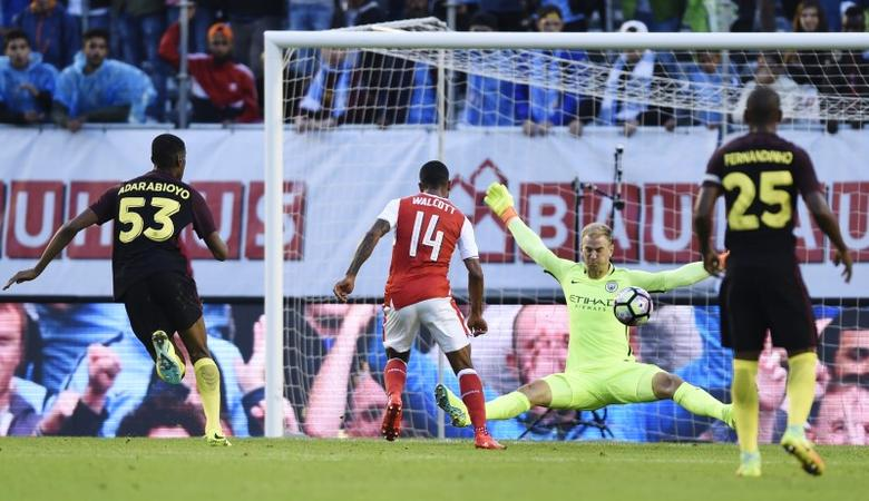 Arsenal v Manchester City - Pre Season Friendly - Ullevi Stadium, Gothenburg, Sweden - 7/8/16Arsenal's Theo Walcott scores their second goal Action Images via Reuters / Adam HoltLivepic