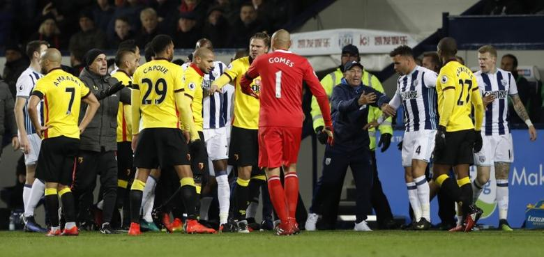 West Bromwich Albion and Watford players clash. West Bromwich Albion v Watford - Premier League - The Hawthorns - 3/12/16.  Action Images via Reuters / Carl Recine Livepic